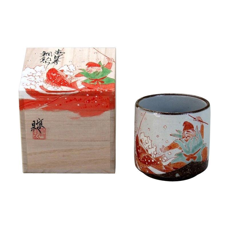 【代引き・同梱不可】九谷焼 良則作 色いろかっぷ 恵比寿鯛釣り 280cc N118-11