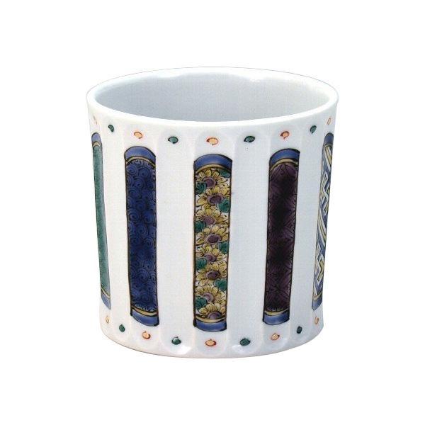 【代引き・同梱不可】九谷焼 晃禎作 ロックカップ(白九) 色絵小紋 N125-05