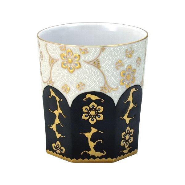 【代引き・同梱不可】九谷焼 錦玉作 ロックカップ(白九) 漆黒白粒宝相華 N125-11