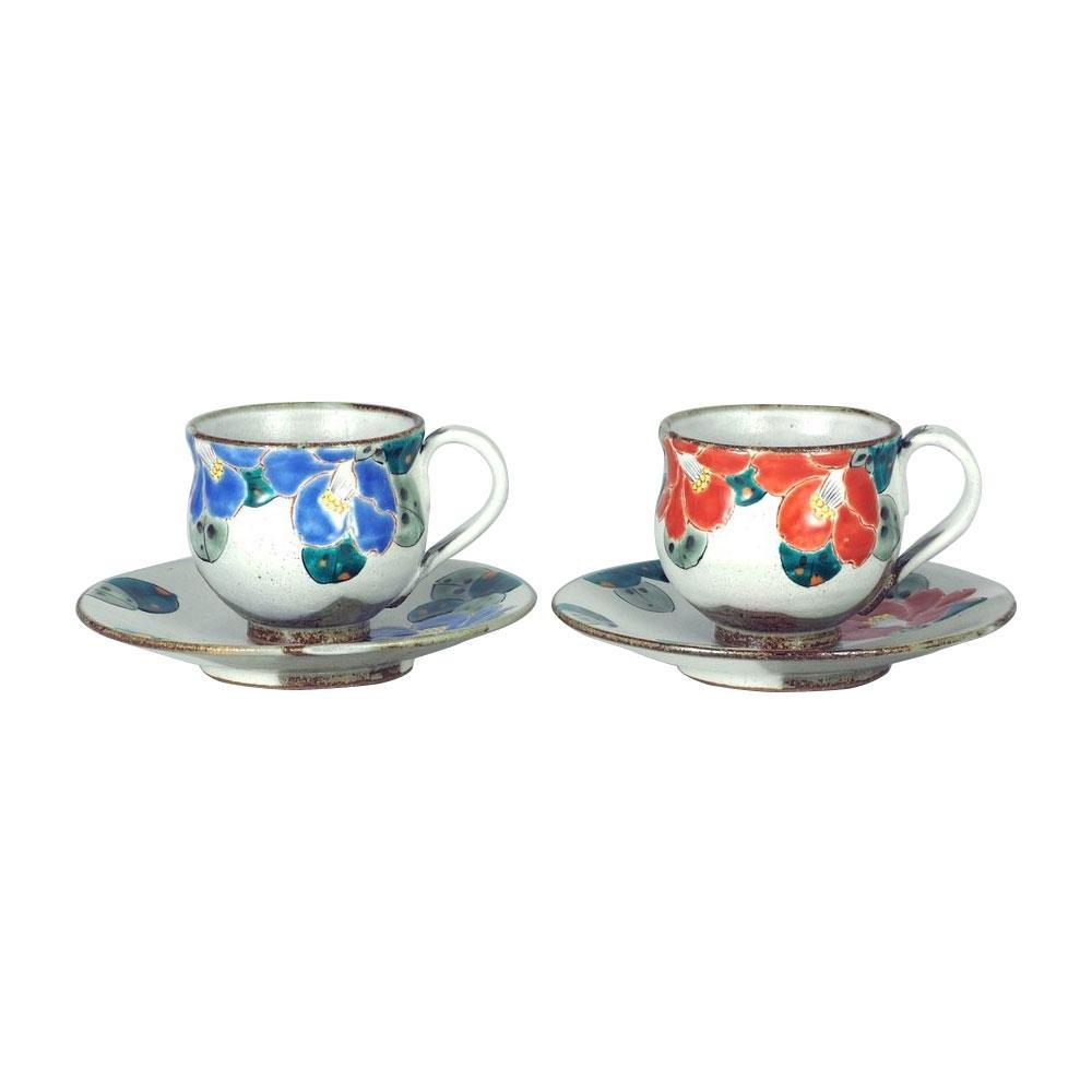 【代引き・同梱不可】九谷焼 良則作 ペアコーヒー 二色椿 200cc N135-07