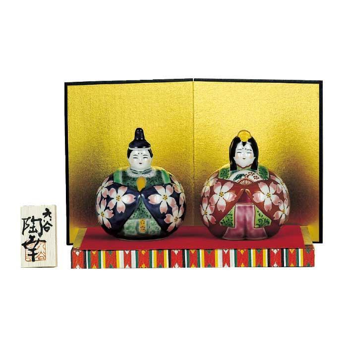 【代引き・同梱不可】九谷焼 3号玉雛人形 紺赤桜紋 N188-05