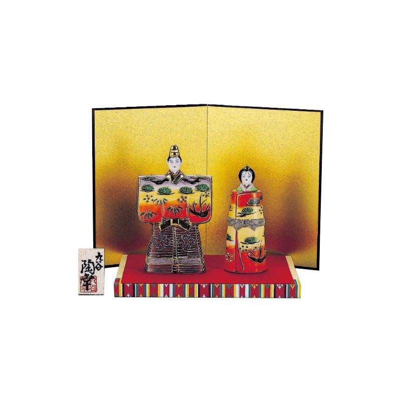 【代引き・同梱不可】九谷焼 5号立雛人形 紅黄盛 N189-01