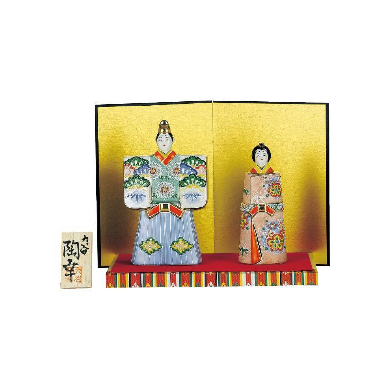 【代引き・同梱不可】九谷焼 5.5号立雛人形 絞り盛松竹梅 N189-03