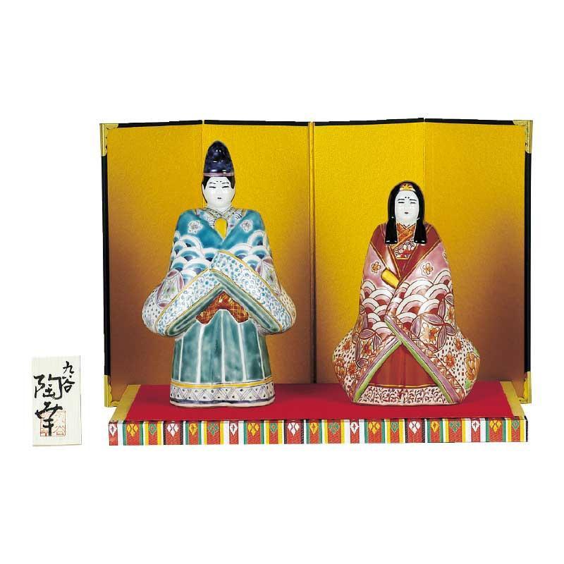 【代引き・同梱不可】九谷焼 6.5号立雛人形 青九谷青海波 N189-07