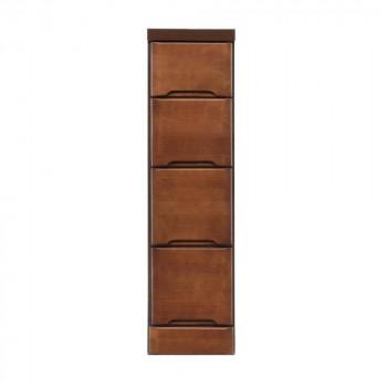 【代引き・同梱不可】クライン サイズが豊富なすきま収納チェスト ブラウン色 4段 幅22.5cm