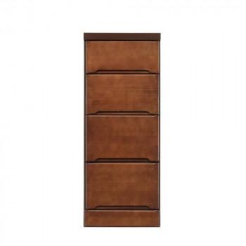 【代引き・同梱不可】クライン サイズが豊富なすきま収納チェスト ブラウン色 4段 幅35cm