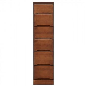 【代引き・同梱不可】クライン サイズが豊富なすきま収納チェスト ブラウン色 6段 幅30cm
