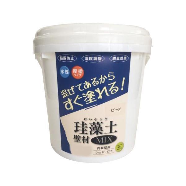 【代引き・同梱不可】フジワラ化学 内装壁用 混ぜてあるからすぐ塗れる!珪藻土 壁材MIX 10kg ピーチ 209614