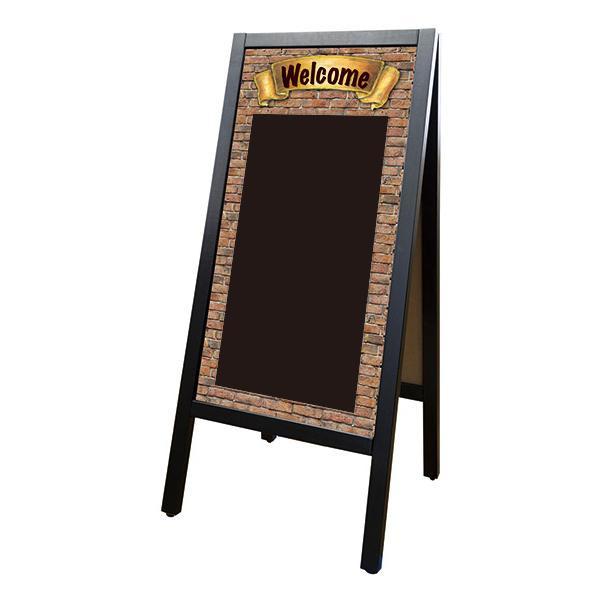【代引き・同梱不可】Pボード リムーバブルA型マジカルボード 24543 WELCOMEレンガ黒/黒無地マグネット スタンド 書いて