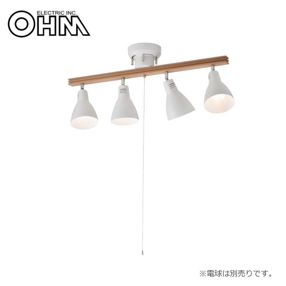 【代引き・同梱不可】オーム電機 OHM 室内照明器具 4灯シーリングライト ホワイト 電球別売 LT-YN40AW-W
