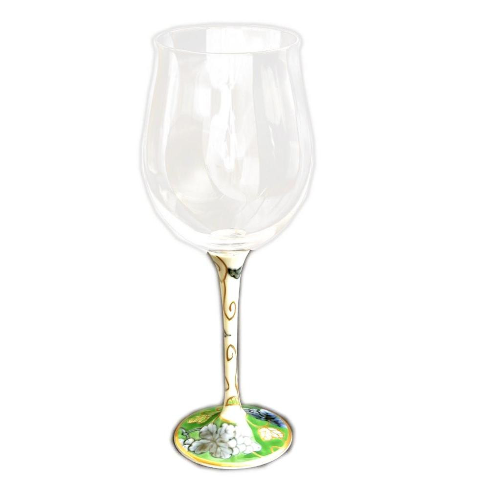 【代引き・同梱不可】有田焼 福泉窯 有田浪漫 ハイレッグワイングラス 小 染錦葡萄 グリーン