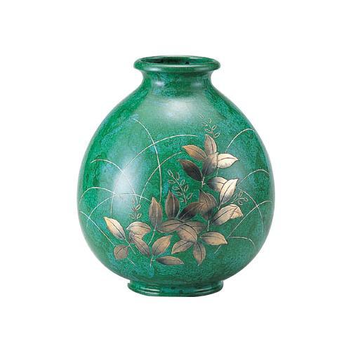 【代引き・同梱不可】高岡銅器 銅製花瓶 山本秀峰作 福寿形 萩 94-05
