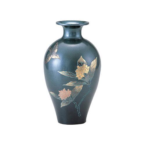 【代引き・同梱不可】高岡銅器 銅製花瓶 山本秀峰作 蘭 花鳥 8号 96-05