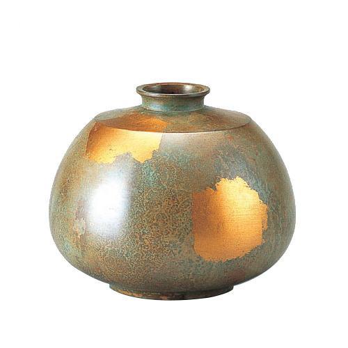 【代引き・同梱不可】高岡銅器 銅製花瓶 平形 100-04