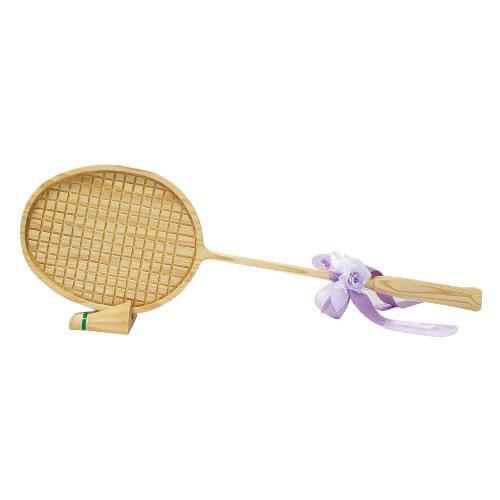 【代引き・同梱不可】ビッグウエディングスプーン 趣味のシリーズ バドミントンラケット型スプーン 飾り台付