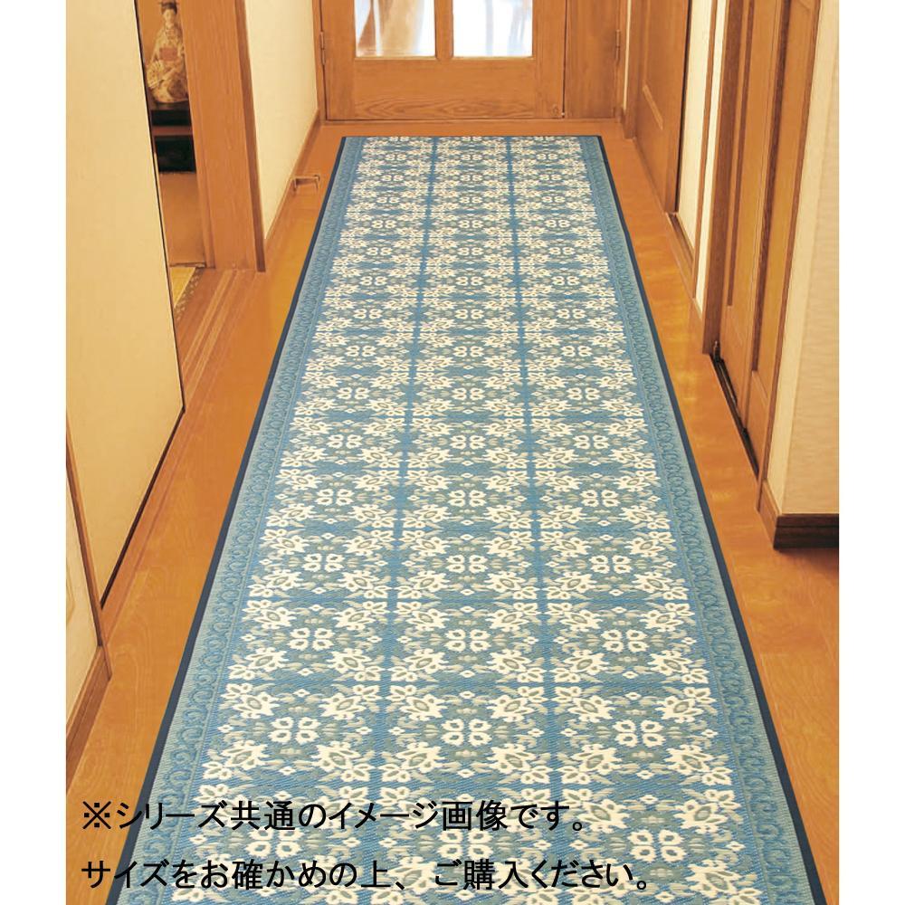 【代引き・同梱不可】三重織 い草廊下敷 約80×350cm ネイビー TSN340504
