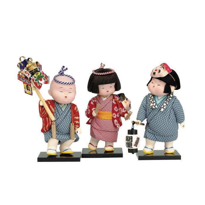 【代引き・同梱不可】01-596 木目込み人形 てんつくてん(台付) セット