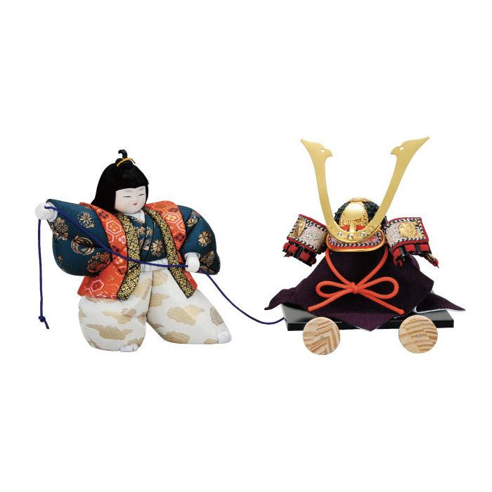 【代引き・同梱不可】01-504 木目込み人形 兜曳き(6号) セット
