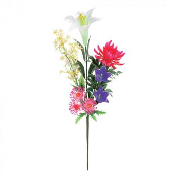 【代引き・同梱不可】アーティフィシャルフラワー ポリ仏花束(赤菊) ミックス 24本セット F3600 アレンジメント