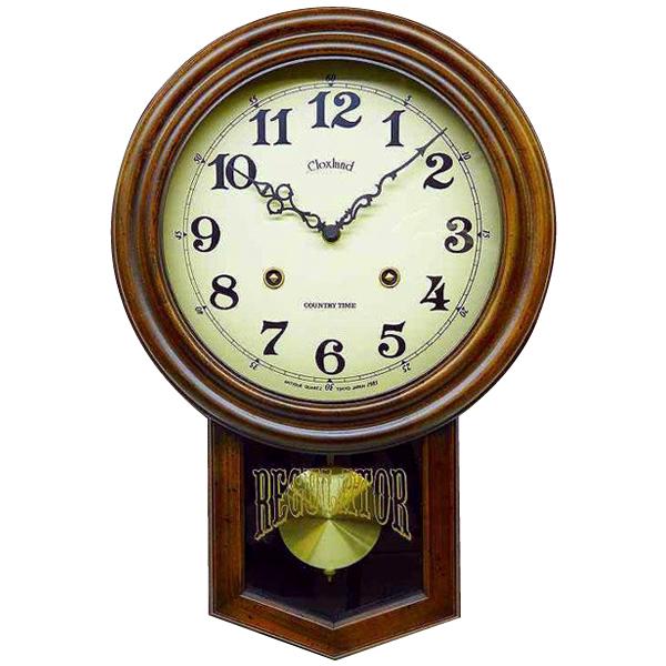 【代引き・同梱不可】アンティーク電波振り子時計(丸型) DQL623木製 アンティーク 時計