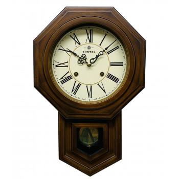 【代引き・同梱不可】ボンボン振り子時計(ローマ文字) QL688R 八角渦ボン時計クォーツ時計 壁掛け時計 木製