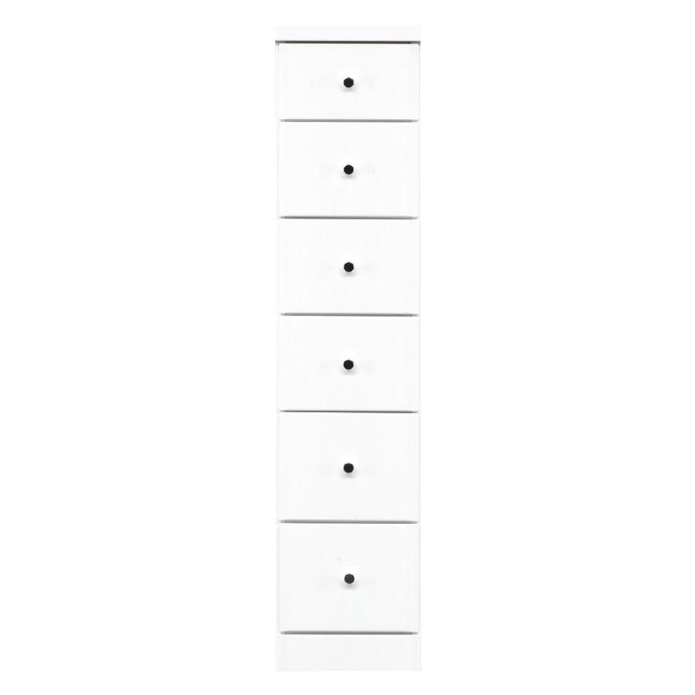 【代引き・同梱不可】ソピア サイズが豊富なすきま収納チェスト ホワイト色 6段 幅27.5cm