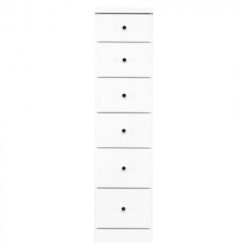 【代引き・同梱不可】ソピア サイズが豊富なすきま収納チェスト ホワイト色 6段 幅30cm