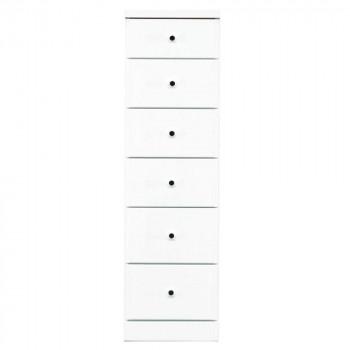 【代引き・同梱不可】ソピア サイズが豊富なすきま収納チェスト ホワイト色 6段 幅35cm