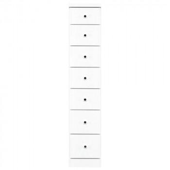 【代引き・同梱不可】ソピア サイズが豊富なすきま収納チェスト ホワイト色 7段 幅27.5cm