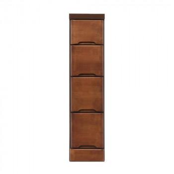 【代引き・同梱不可】クライン サイズが豊富なすきま収納チェスト ブラウン色 4段 幅20cm