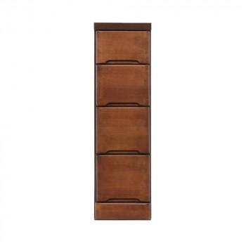 【代引き・同梱不可】クライン サイズが豊富なすきま収納チェスト ブラウン色 4段 幅25cm