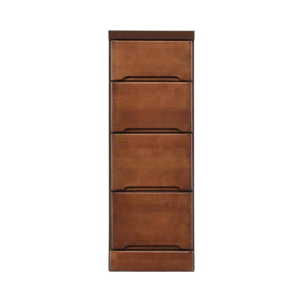 【代引き・同梱不可】クライン サイズが豊富なすきま収納チェスト ブラウン色 4段 幅30cm
