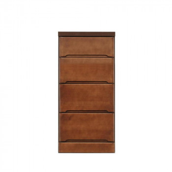 【代引き・同梱不可】クライン サイズが豊富なすきま収納チェスト ブラウン色 4段 幅40cm