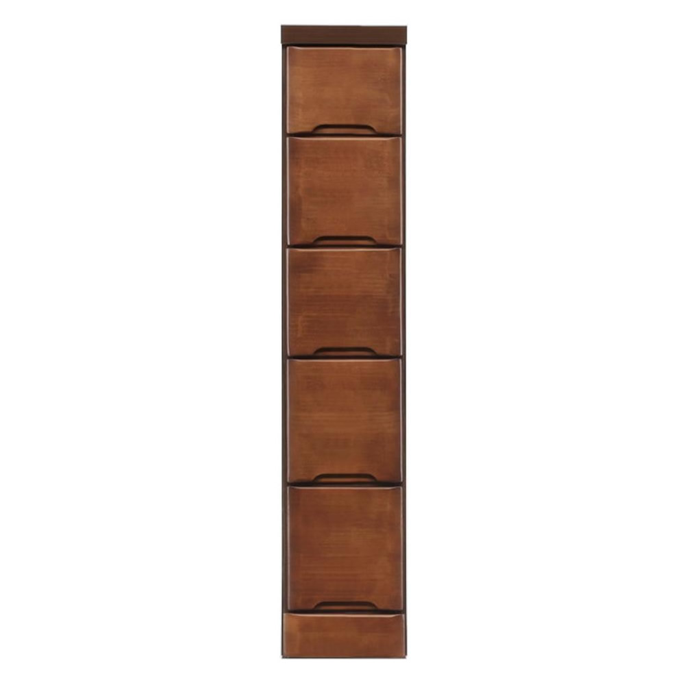 【代引き・同梱不可】クライン サイズが豊富なすきま収納チェスト ブラウン色 5段 幅20cm
