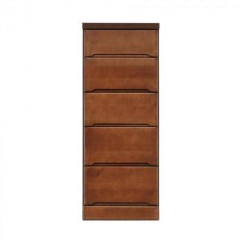 【代引き・同梱不可】クライン サイズが豊富なすきま収納チェスト ブラウン色 5段 幅40cm