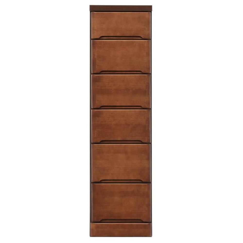【代引き・同梱不可】クライン サイズが豊富なすきま収納チェスト ブラウン色 6段 幅32.5cm