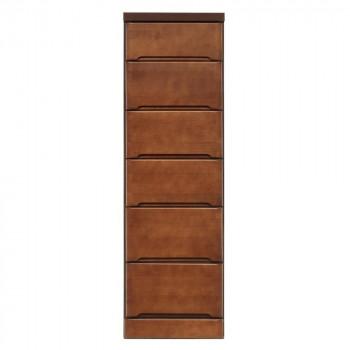 【代引き・同梱不可】クライン サイズが豊富なすきま収納チェスト ブラウン色 6段 幅37.5cm