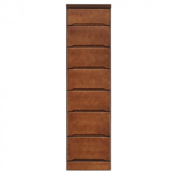 【代引き・同梱不可】クライン サイズが豊富なすきま収納チェスト ブラウン色 7段 幅37.5cm