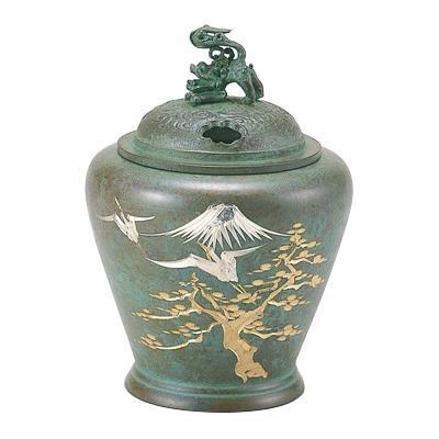 【代引き・同梱不可】高岡銅器 銅製香炉 夏目型香炉 鶴彫金 132-03