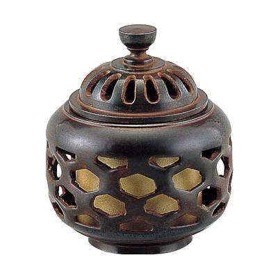 【代引き・同梱不可】高岡銅器 銅製香炉 正晴作 亀甲透香炉 134-06