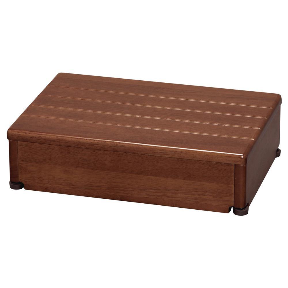 【代引き・同梱不可】木製玄関台 1段型 ブラウン 45W-30-1段