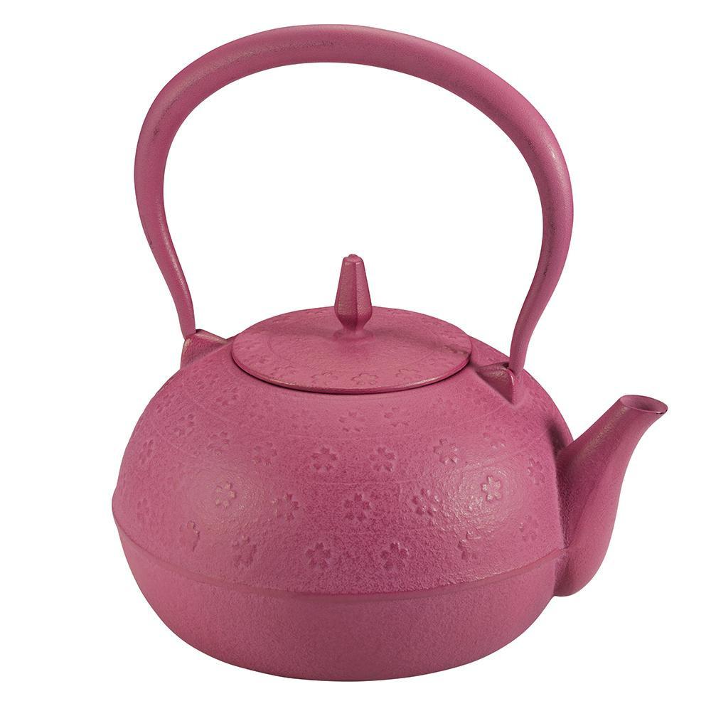 【代引き・同梱不可】南部鉄瓶 梔子さくら文様 ピンクおしゃれ 便利 かわいい