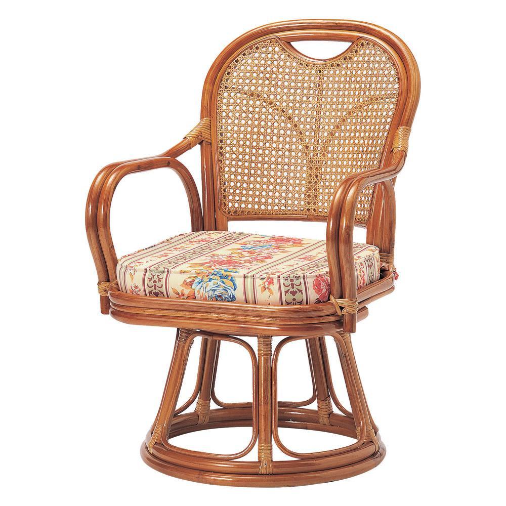 【代引き・同梱不可】ラタン回転椅子 ミドルタイプ(SH390) R-390S