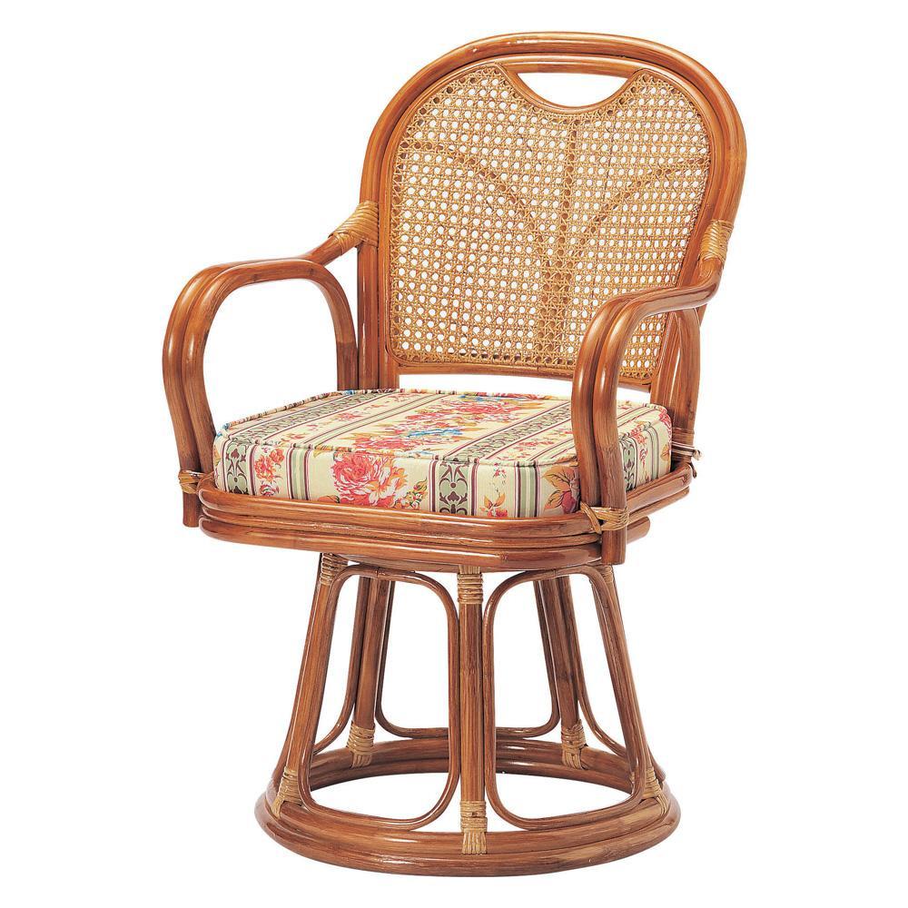 【代引き・同梱不可】ラタン回転椅子 ハイタイプ(SH440) R-440S