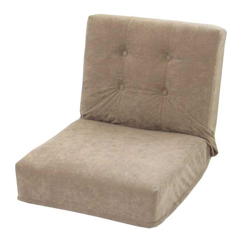 【代引き・同梱不可】厚みのある座椅子S スエード調 アッシュブラウン