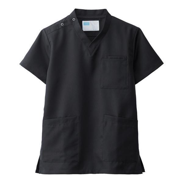 【代引き・同梱不可】男女兼用スクラブ ブラック L WH11485A 2185-6359