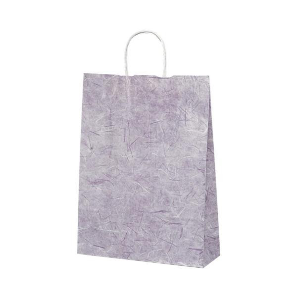 【代引き・同梱不可】T-8 自動紐手提袋 紙袋 紙丸紐タイプ 320×110×430mm 200枚 彩流(紫) 1824業務用 手提げ シンプル