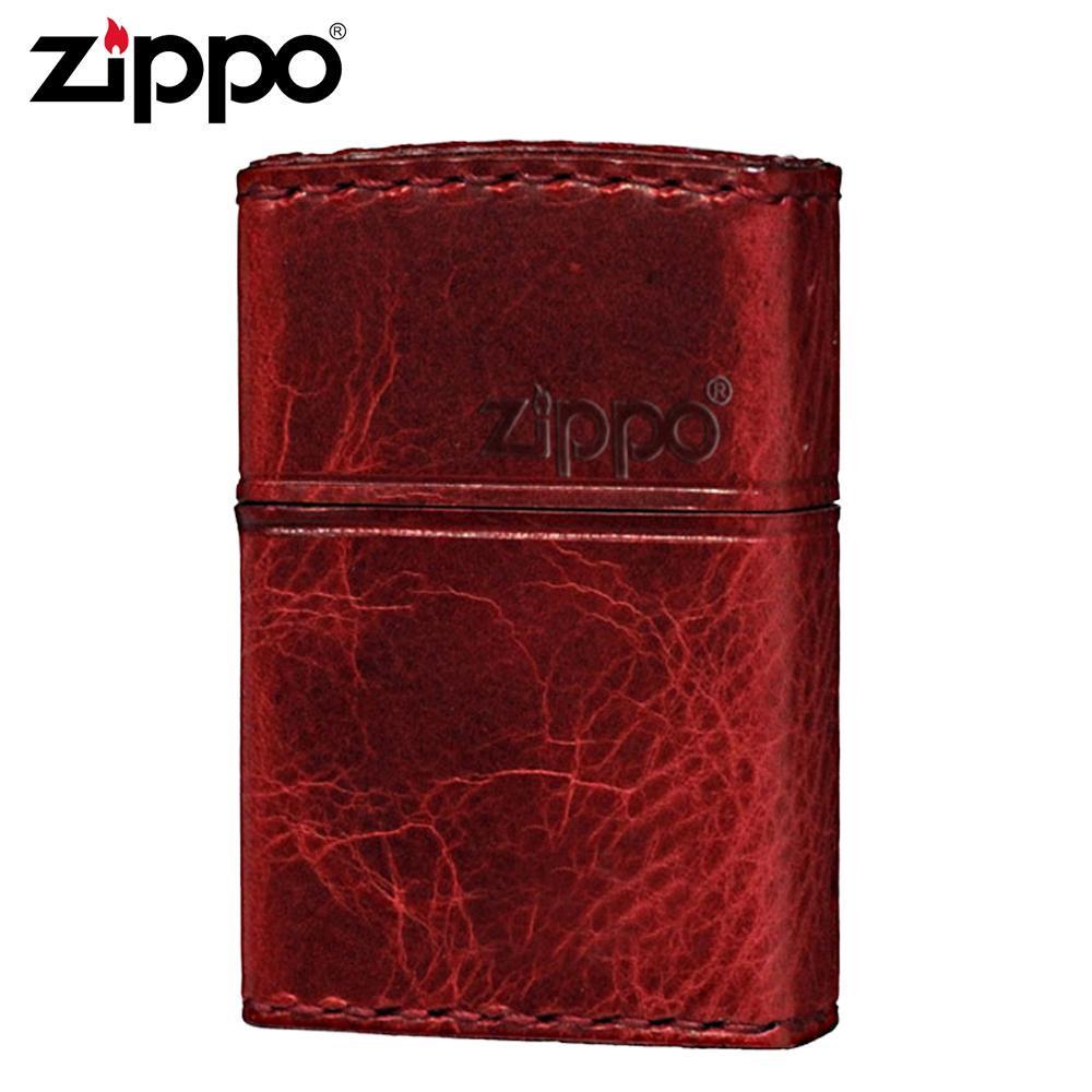 【代引き・同梱不可】ZIPPO(ジッポー) オイルライター RD-5革巻き 横ロゴ ダメージレッド