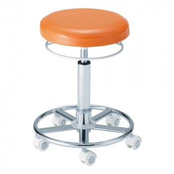 【代引き・同梱不可】サロン向け スターカッティングチェア(ホワイトキャスター) オレンジ 63009