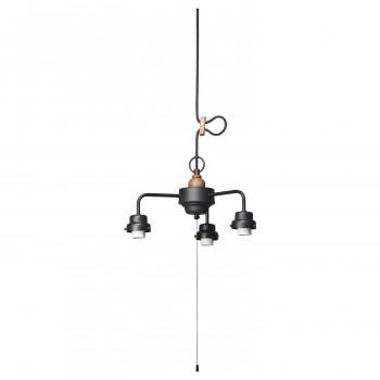 【代引き・同梱不可】3灯用ビス止めCP型吊具・木製飾り付(黒塗装) GLF-0281BK